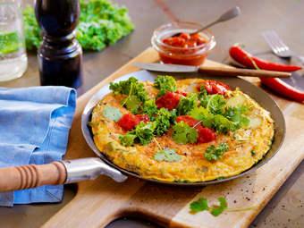 Vegetartortilla med vårløk og grønnkål