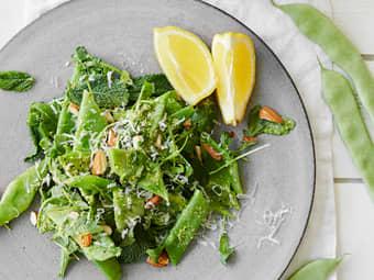 Bønnesalat med ruccula- og myntepesto
