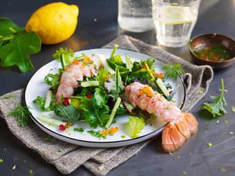 Salat med sjøkreps og lakserogn