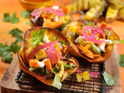 Spicy vegetar tostadas