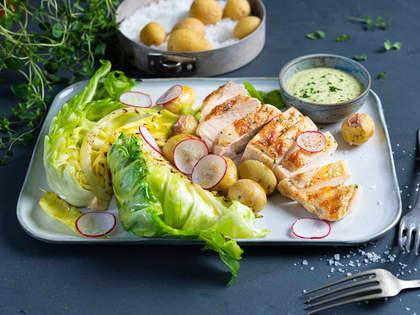 Grillet kyllingbryst med nykål og hjemmelaget urtemajones