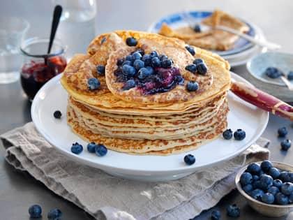 Pannekaker med blåbær