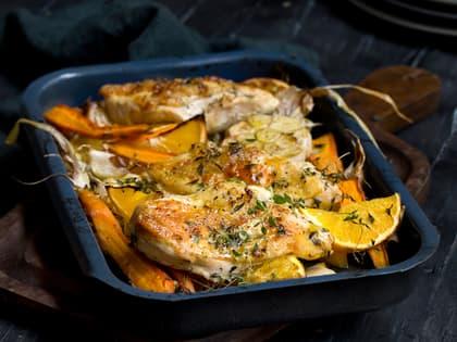 Ovnsbakt kylling med rotgrønnsaker og appelsin