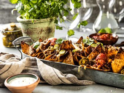 Gratinert nachos med kjøttdeig