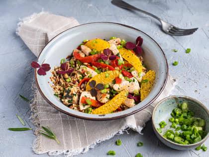 Middagsbowl med kylling og appelsin