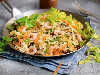 Stekt ris med skinke, sopp og reker