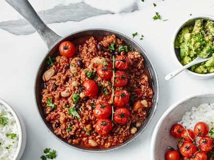 Chili sin carne med vegetardeig