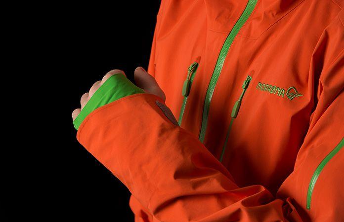 Norrøna lofoten hand gaiter on jacket