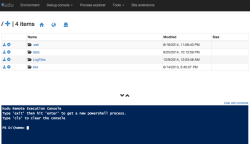 Screen shot of the PowerShell in-browser console using the Azure Kudu tool