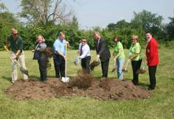 Alicia Eckhart (second from left), former director of City of Fairborn Parks and Recreation, at Fairfield Park groundbreaking. Photo courtesy of Mindy Weaver.
