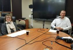 Brad Wilson (right), director of recreation and facilities, Naperville Park District, recording a podcast with Nancy Weirsum. Photo courtesy of Sue Omanson.