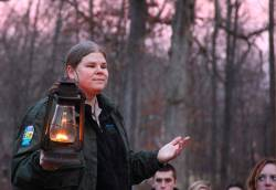 Kelley Morgan, head naturalist at Mounds State Park, leading a hike and talking about indigenous people of the area. Photo courtesy of Krysta Bozman.