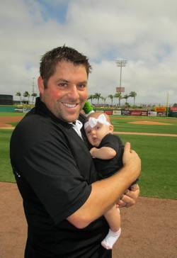Shaun Beasley, recreation division manager for Clearwater Parks & Recreation, with his daughter, Savannah, at the Brighthouse Field. Photo courtesy of Sandy Clayton.