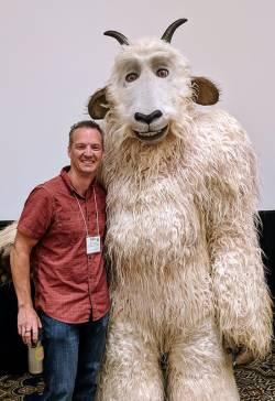 Skot Latona, supervisor of South Platte Park, South Suburban Park and Recreation, with Colorado's GOGO Inspire mascot. Photo courtesy of Phil Waltz.