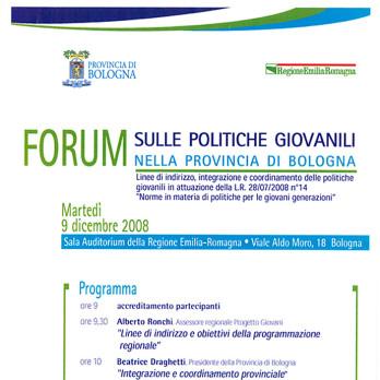 Forum Regionale sulle Politiche Giovanili nella provincia di Bologna