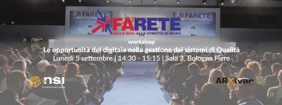 Il 5 e 6 settembre NSI partecipa con Arxivar a Farete 2016.