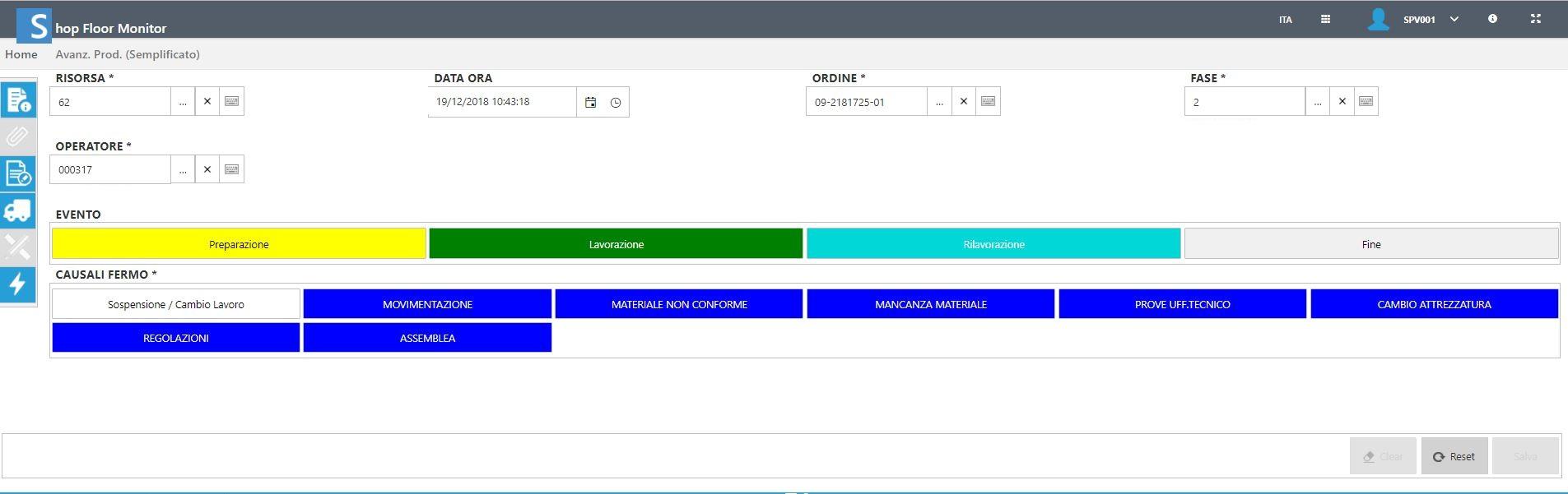 Una schermata del sistema MES in Nobili Spa