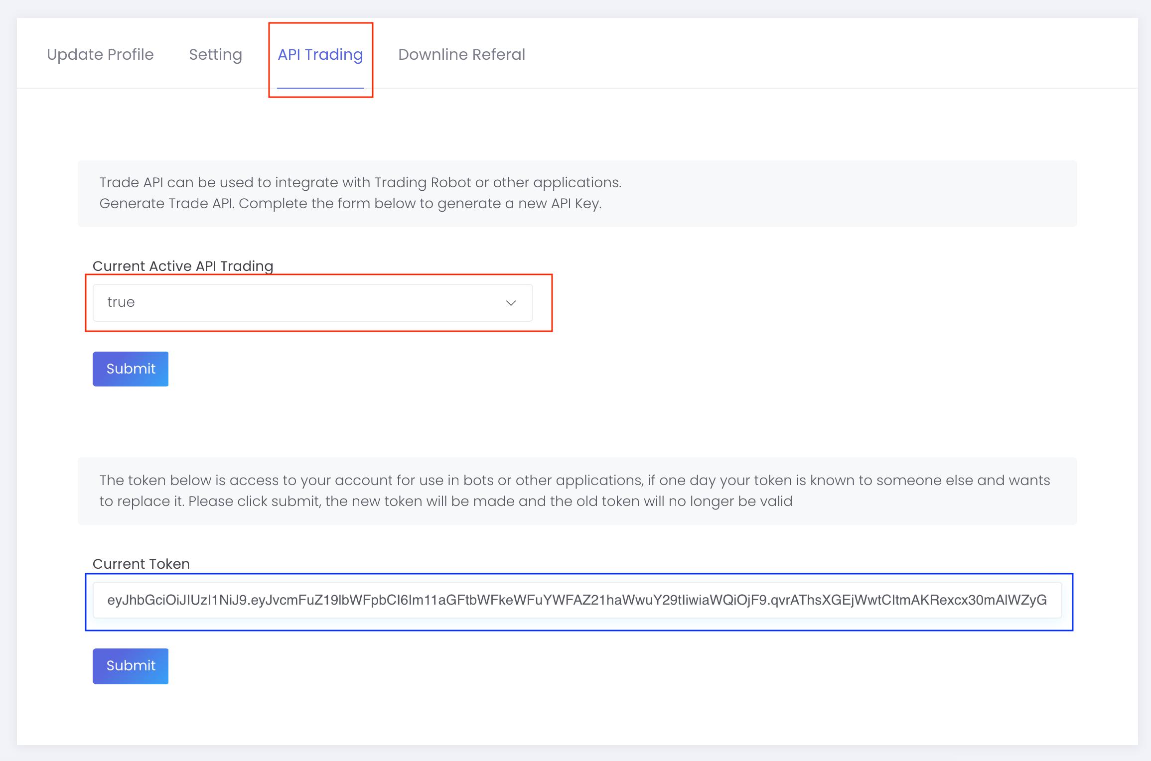 cara mengaktifkan API Trading di Nucex