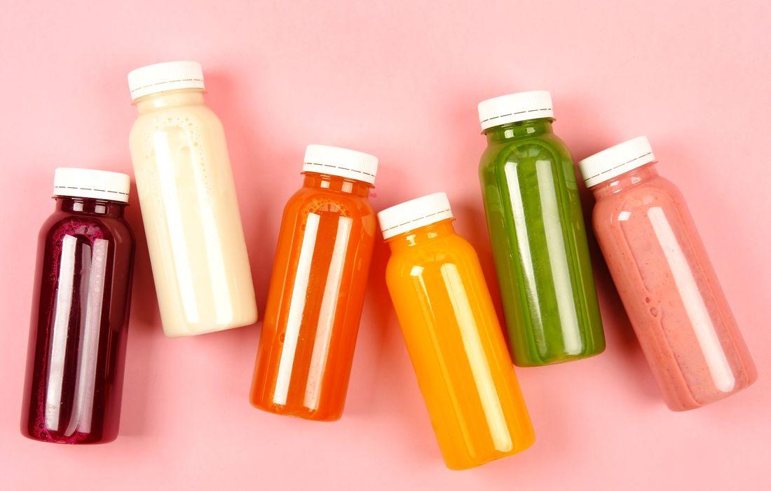 6 juices in bottles