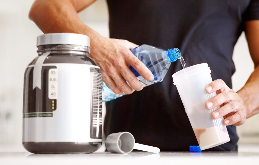 pouring amino supplement