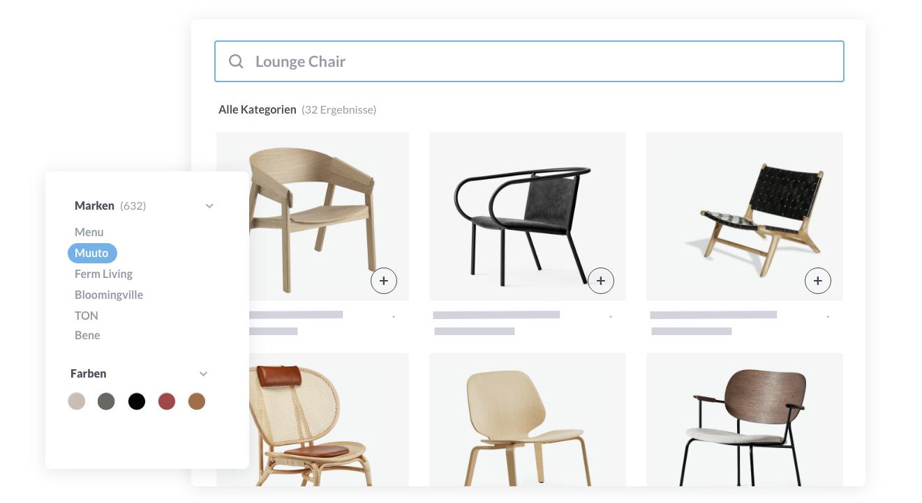 Screenshot Produkt Suche