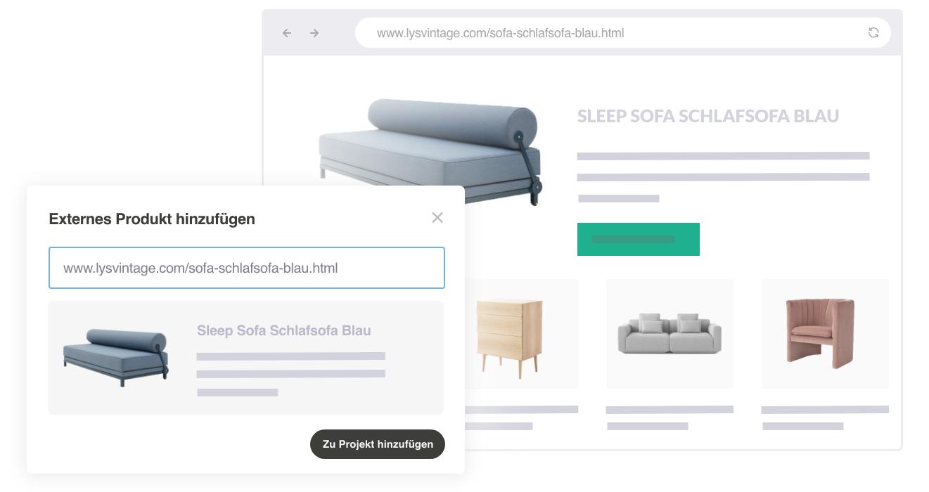 Screenshot Externe Produkte