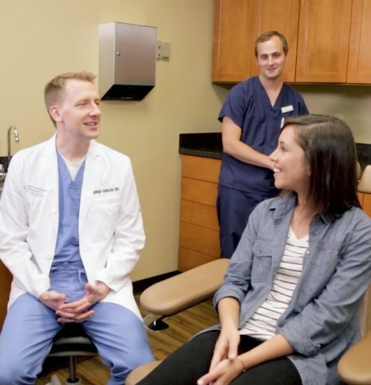 Dr. Goodson having a conversation with patient