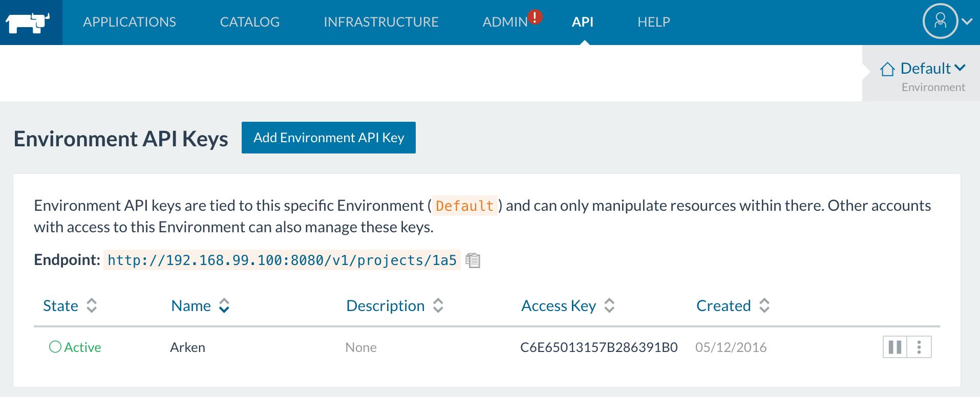 New Rancher API key