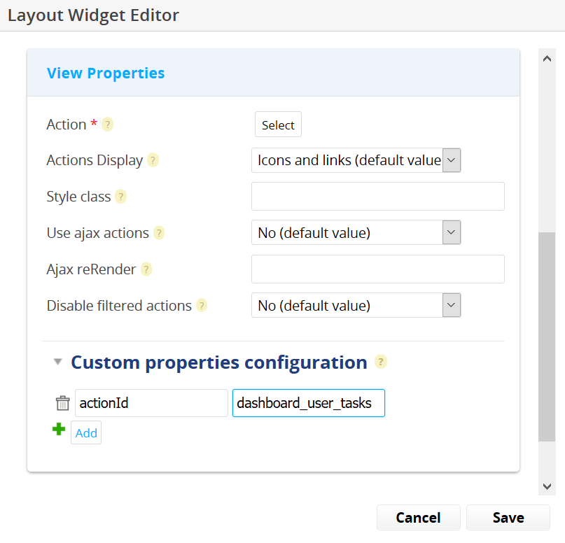 Action Form Widget Editor