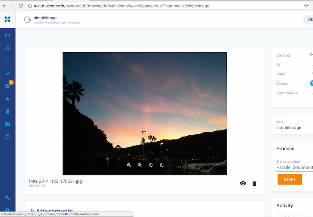 Upload image in Nuxeo