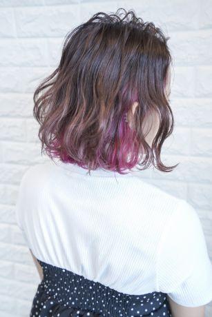 インナーカラーのピンクが綺麗なイルミナカラーのトワイライト