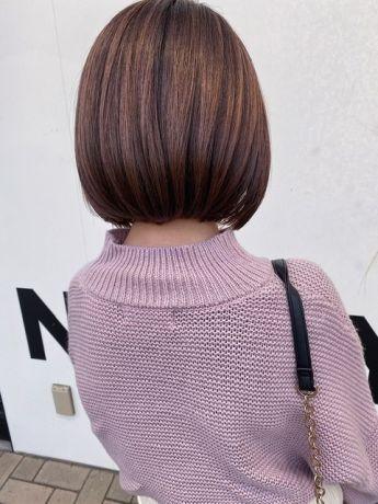 【NYNY岩破】ワンレンボブ×パープルピンク