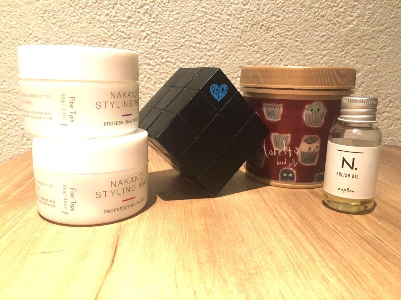 今回ご紹介するスタイリング剤は5種類。厳選のワックス、ジェル、オイル。