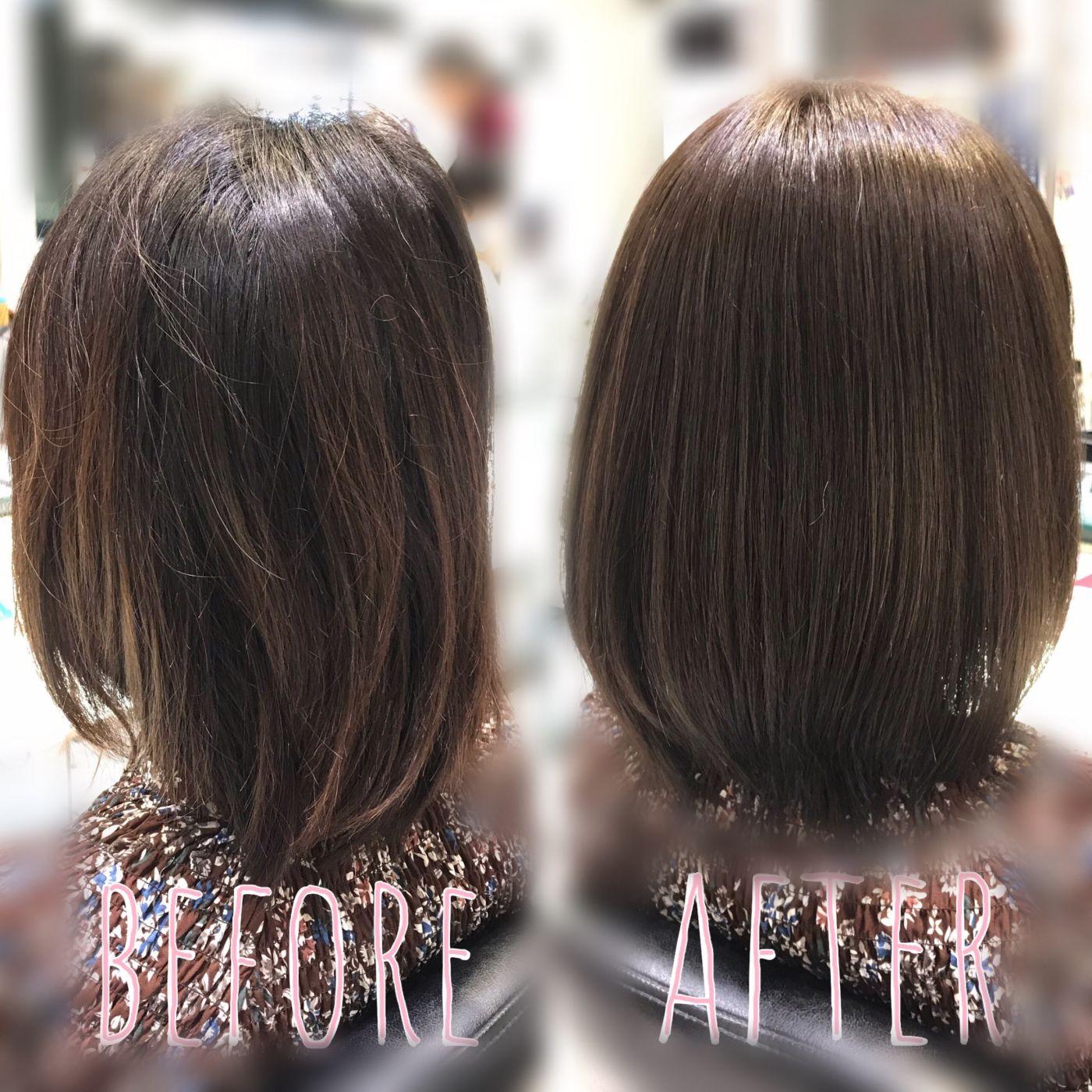 クセの度合い→弱 パサつきが気になる方は髪質改善トリートメント