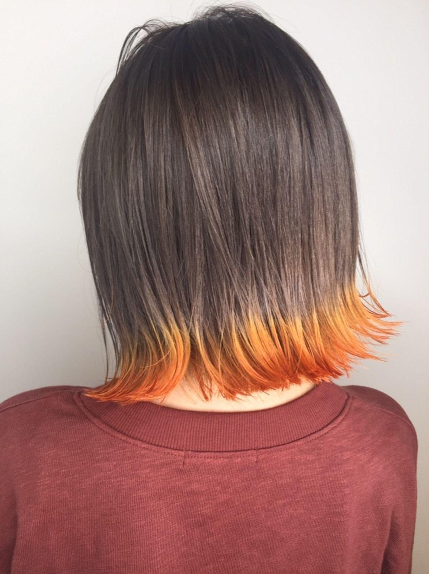 ☆毛先がオレンジの裾カラーに!!
