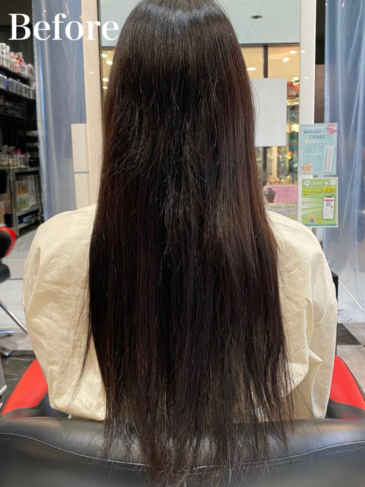 人生初カラー!黒髪からのアッシュグレー
