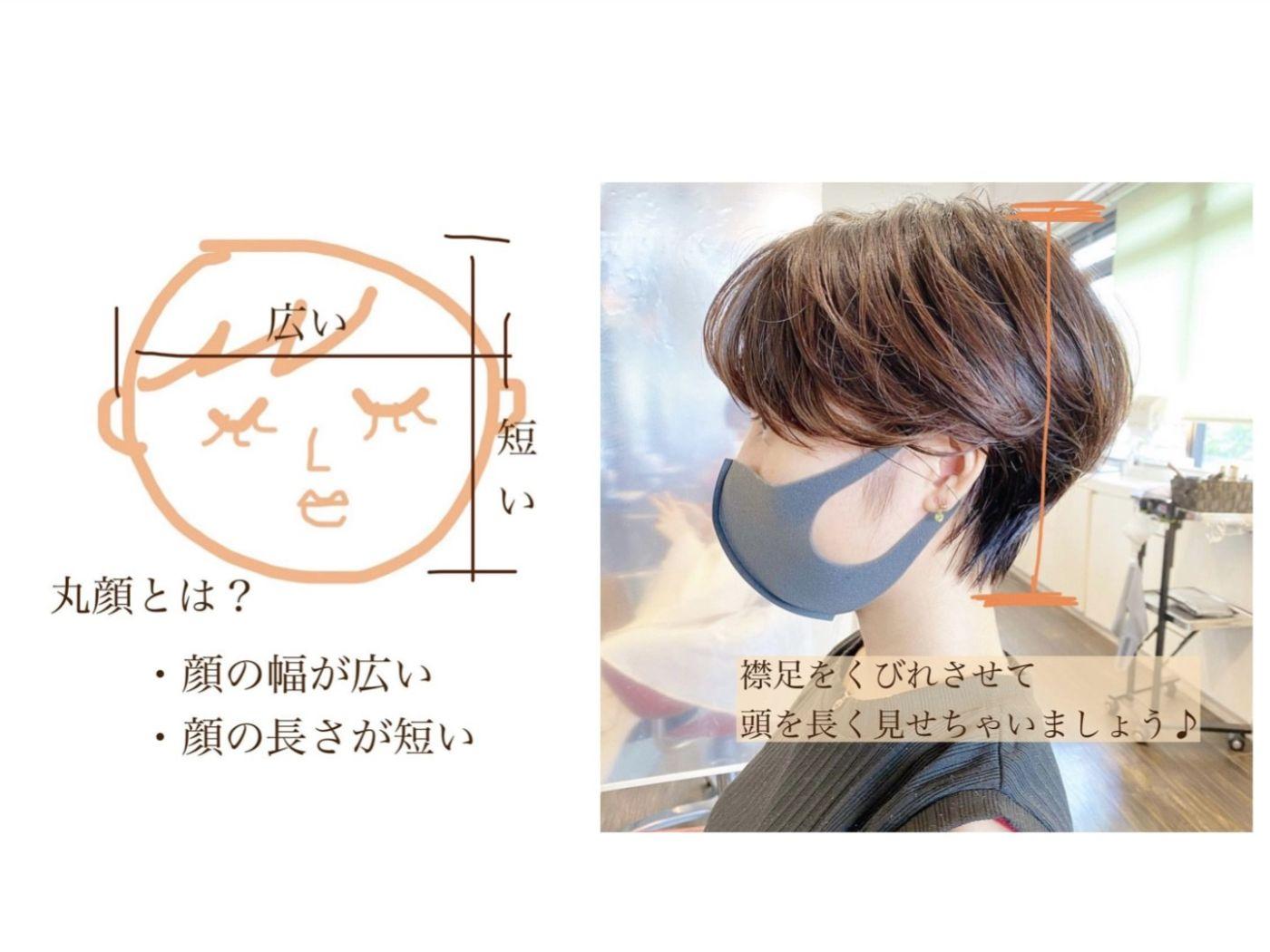 【 丸顔さんの特徴・似合うショートヘア 】
