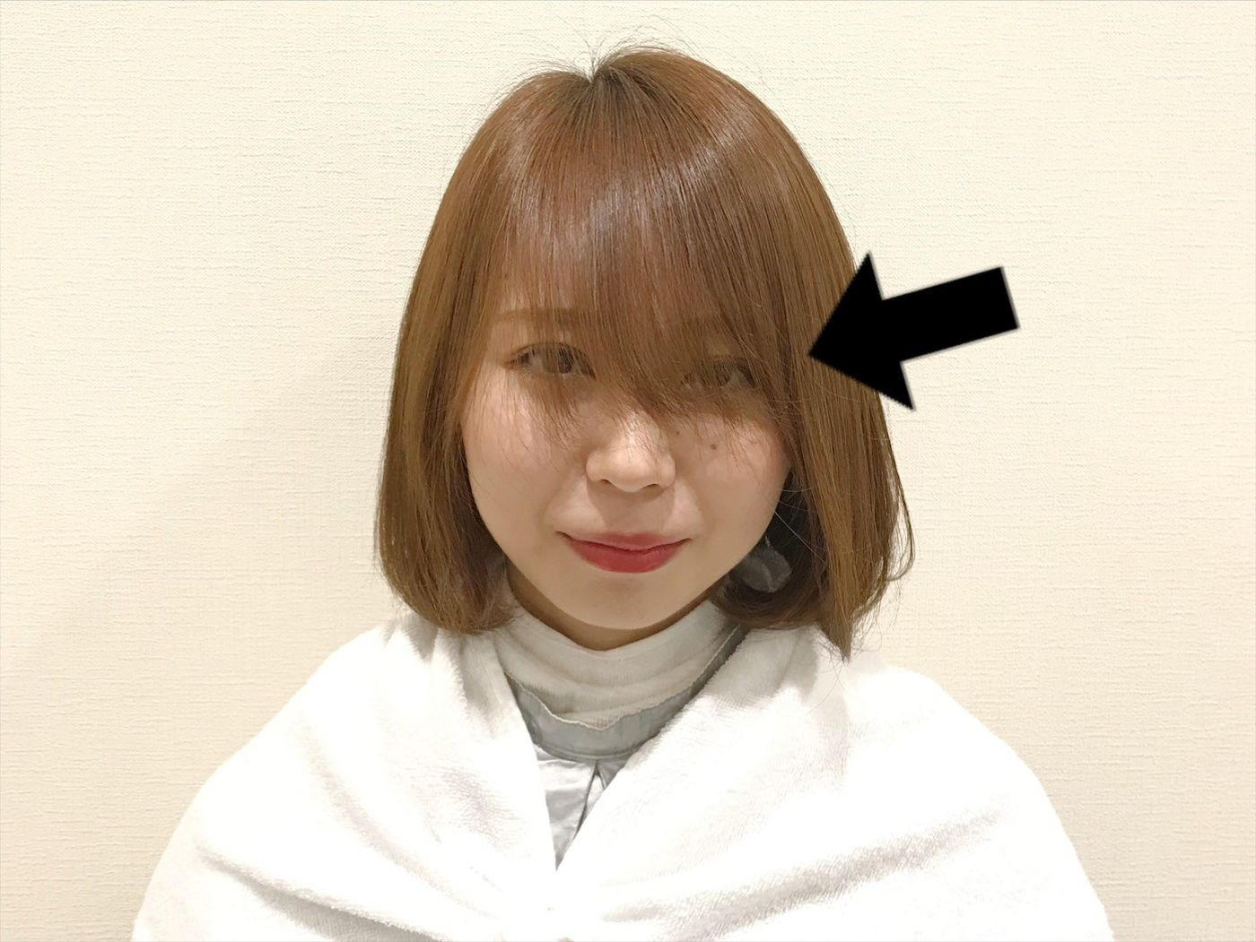 今回は[前髪が流れにくい・ぺったんこ]を解決!!