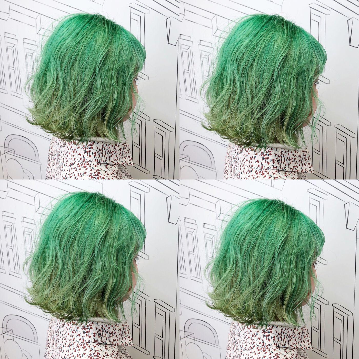 【番外編】全体ブリーチ×カラートリートメントでとことん目立つ派手髪!『ミントカラー』