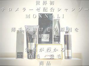 世界初テロメラーゼ配合、発毛・育毛シャンプー【MONNALI】