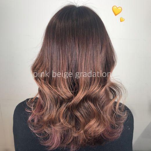 インナー カラー ピンク ベージュ