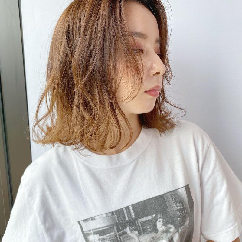 柔らかレイヤーボブ+オレンジブラウン③