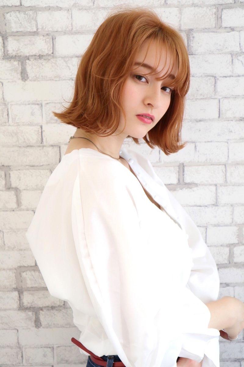 【ワンレンボブ】シースルーバング オレンジカラー②
