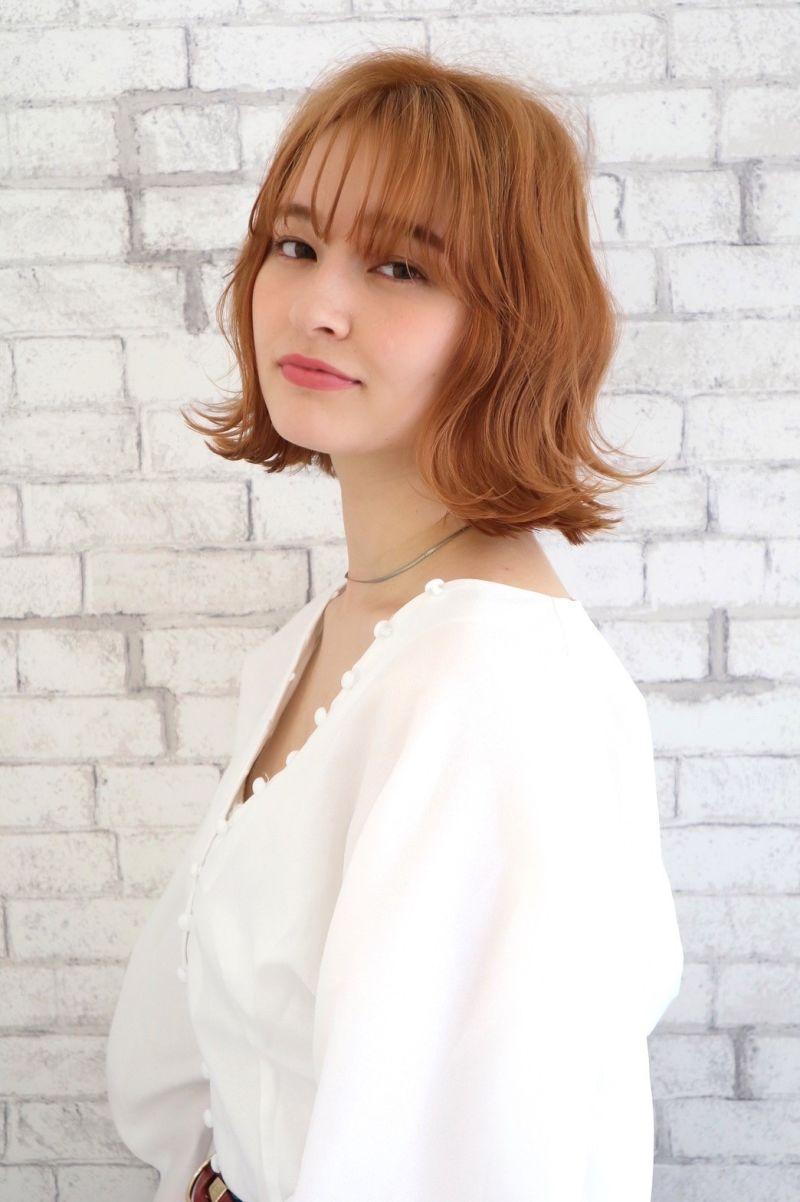 【ワンレンボブ】シースルーバング オレンジカラー③
