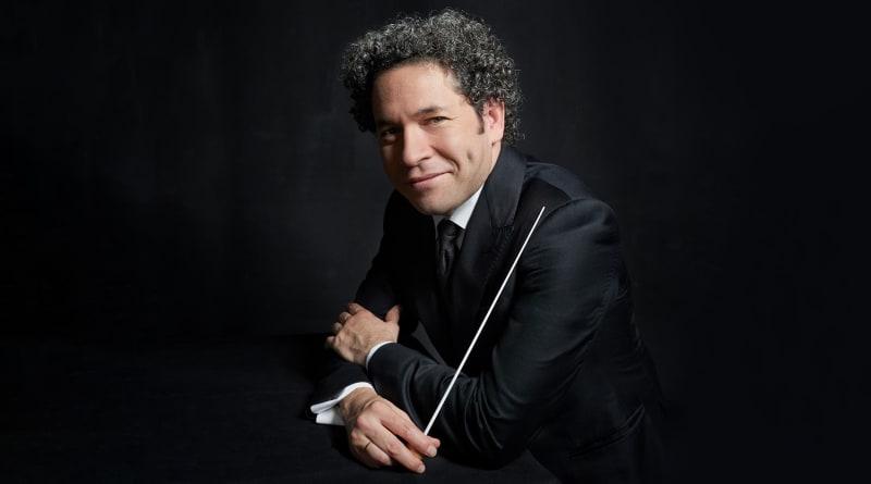 Gustavo Dudamel holds a baton