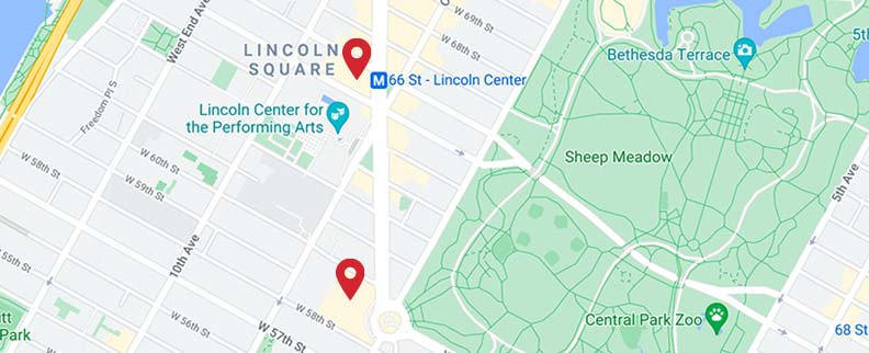 A map indicating the location of Alice Tully Hall and the Rose Theater