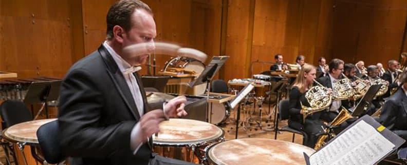 Principal Timpani Markus Rhoten plays timpani