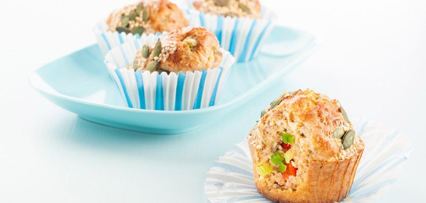 Sunne og ogde matmuffins med Kavli MagerOst Kylling lages på bare 30 minutter.