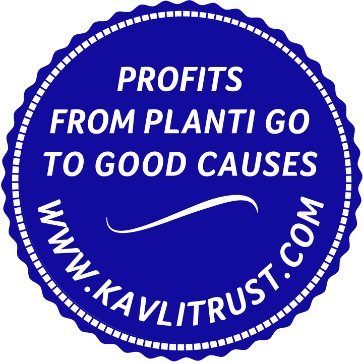 Blå logotyp med text Profits from planti go to good causes www.kavlitrust.com