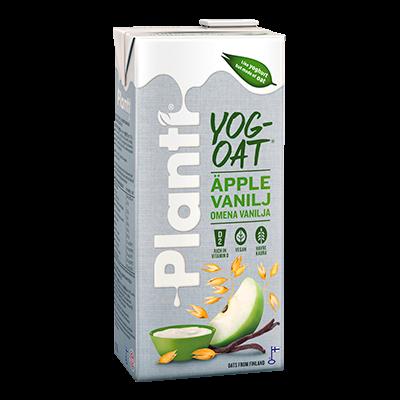 förpackningsbild på planti YogOat äpple vanilj